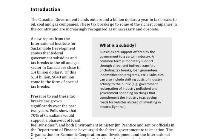Fuelling the problem: why it is time to end tax breaks for big oil and gas companies in Canada