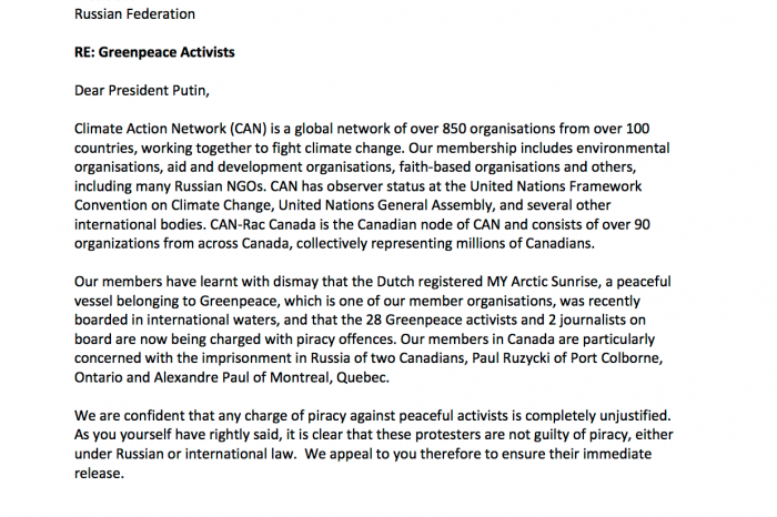 Climate Action Network Letter to President Putin demanding release of the imprisoned Greenpeace activists