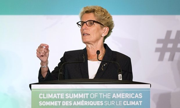 Ontario's premier, Kathleen Wynne, speaks at the Climate Summit of the Americas in Toronto.