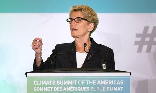 Ontario's premier, Kathleen Wynne, speaks at the Climate Summit of the Americas in Toronto.