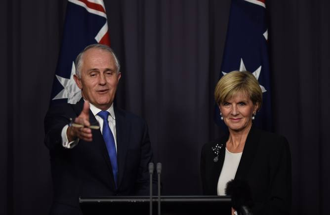 Australian Prime Minister elect Malcolm Turnbull (left) and Australian Foreign Minister Julie Bishop speak during a press conference at Parliament House in Canberra, Monday, Sept. 14, 2015. Former Australian Federal Minister for Communications Malcolm Turnbull won the leadership challenge against Australian Prime Minister Tony Abbott with 54 to 44 votes. (AAP Image/Lukas Coch) NO ARCHIVING