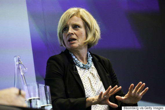 Rachel Notley, Alberta's premier, speaks during an interview at the Canadian Fixed Income Conference in New York, U.S., on Wednesday, Sept. 30, 2015. Kinder Morgan Inc. may need to shift its Trans Mountain pipeline to a different port in British Columbia to win over opponents to the lines expansion, Notley said. Photographer: Chris Goodney/Bloomberg via Getty Images